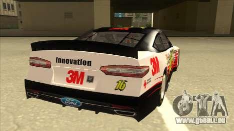 Ford Fusion NASCAR No. 16 3M Bondo für GTA San Andreas rechten Ansicht