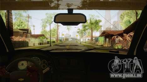 Chevrolet Trail Blazer pour GTA San Andreas vue intérieure