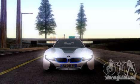 BMW I8 für GTA San Andreas zurück linke Ansicht