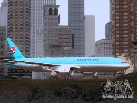 Boeing 777-2B5ER Korean Air für GTA San Andreas zurück linke Ansicht