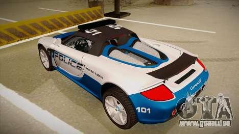 Porsche Carrera GT 2004 Police White pour GTA San Andreas vue arrière