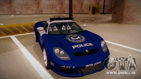 Porsche Carrera GT 2004 Police Blue pour GTA San Andreas laissé vue