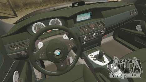 BMW M5 E60 Metropolitan Police Unmarked [ELS] pour GTA 4 est un côté