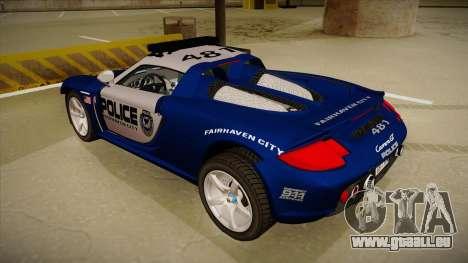 Porsche Carrera GT 2004 Police Blue für GTA San Andreas Rückansicht