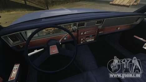 Chevrolet Caprice Brougham 1986 pour GTA 4 est une vue de l'intérieur