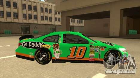 Chevrolet SS NASCAR No. 10 Go Daddy für GTA San Andreas zurück linke Ansicht
