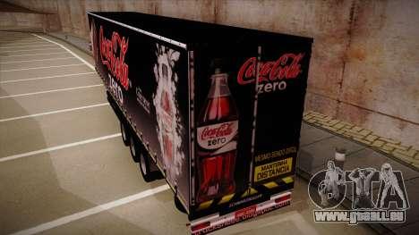 Sider semi-remorque Coca-cola zéro pour GTA San Andreas sur la vue arrière gauche