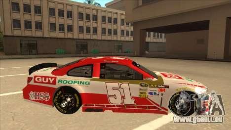 Chevrolet SS NASCAR No. 51 Guy Roofing für GTA San Andreas zurück linke Ansicht