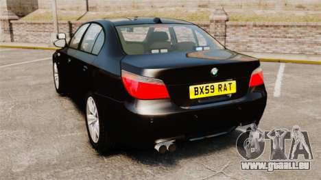 BMW M5 E60 Metropolitan Police Unmarked [ELS] pour GTA 4 Vue arrière de la gauche