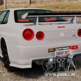 Nissan Skyline R34 GT-R NISMO Z-tune pour GTA 4 Vue arrière de la gauche