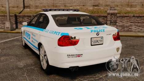 BMW 350i NYPD [ELS] pour GTA 4 Vue arrière de la gauche