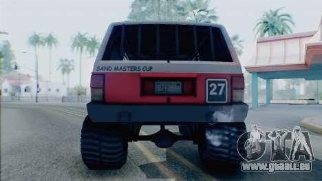 Jeep Cherokee 1984 Sandking pour GTA San Andreas vue de droite