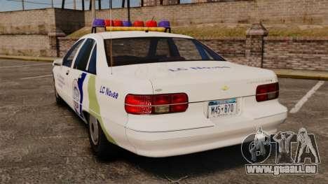 Chevrolet Caprice Police 1991 v2.0 N.o.o.s.e pour GTA 4 Vue arrière de la gauche