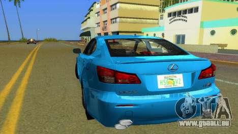 Lexus IS-F pour GTA Vice City sur la vue arrière gauche