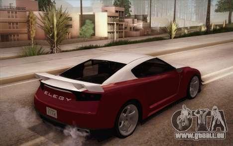 Elegy RH8 from GTA V pour GTA San Andreas sur la vue arrière gauche