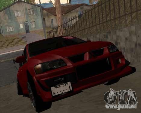 Mitsubishi Evolution VIII pour GTA San Andreas laissé vue
