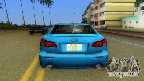 Lexus IS-F für GTA Vice City Rückansicht