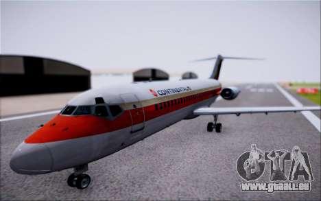 McDonnel Douglas DC-9-10 pour GTA San Andreas sur la vue arrière gauche
