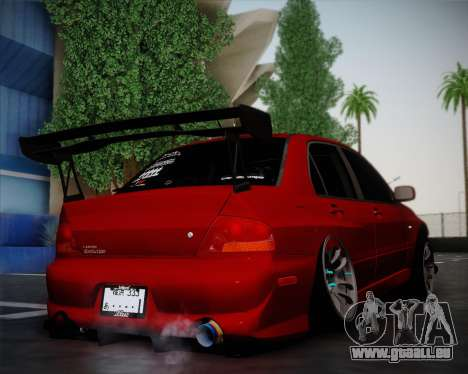 Mitsubishi Evolution VIII pour GTA San Andreas sur la vue arrière gauche