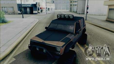 Jeep Cherokee 1984 Sandking pour GTA San Andreas vue intérieure