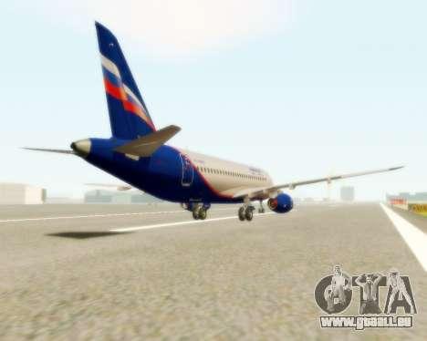 Suchoi Superjet 100-95 Aeroflot für GTA San Andreas zurück linke Ansicht