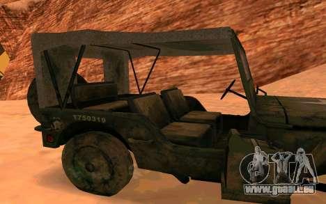 Ju2 v Willys MB pour GTA San Andreas sur la vue arrière gauche
