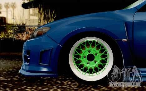 Subaru Impreza WRX STi 2011 pour GTA San Andreas sur la vue arrière gauche