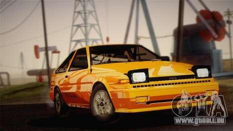 Toyota Corolla GT-S AE86 1985 pour GTA San Andreas sur la vue arrière gauche