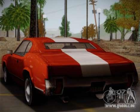 Sabre Turbo pour GTA San Andreas sur la vue arrière gauche