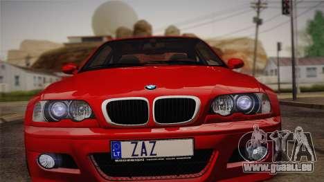 BMW E46 M3 Coupe pour GTA San Andreas sur la vue arrière gauche