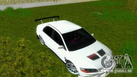 Mitsubishi Lancer Evolution VIII Type 8 pour une vue GTA Vice City de l'intérieur