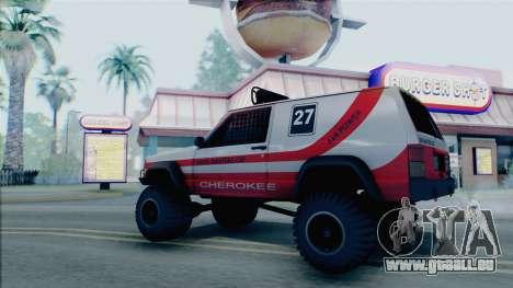 Jeep Cherokee 1984 Sandking pour GTA San Andreas laissé vue