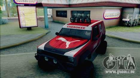 Jeep Cherokee 1984 Sandking pour GTA San Andreas vue de dessous