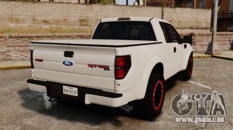 Ford SVT Raptor 2012 pour GTA 4 Vue arrière de la gauche