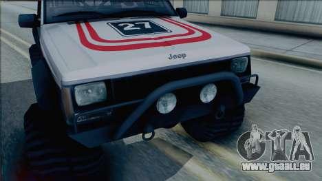 Jeep Cherokee 1984 Sandking pour GTA San Andreas sur la vue arrière gauche
