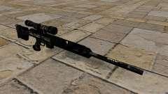 Fusil de sniper en uniformes de camouflage bleu