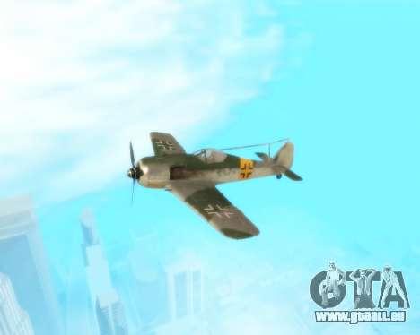 Focke-Wulf FW-190 F-8 pour GTA San Andreas vue intérieure