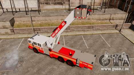 MTL Firetruck Tower Ladder [ELS-EPM] pour GTA 4 Vue arrière