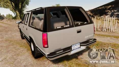 Chevrolet Suburban 1999 Police [ELS] für GTA 4 hinten links Ansicht