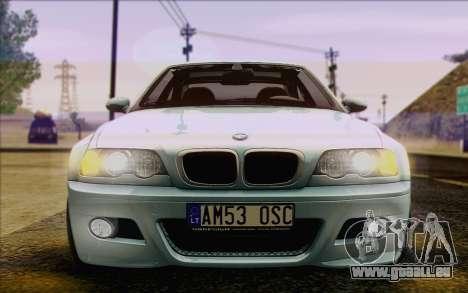 BMW M3 E46 2005 pour GTA San Andreas vue de dessous