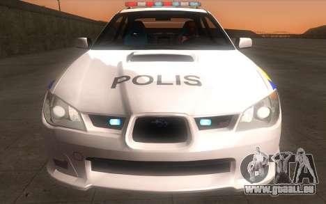 Subaru Impreza 2006 WRX STi Police Malaysian pour GTA San Andreas vue arrière