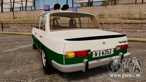 Wartburg 353 W Deluxe Polizei für GTA 4 hinten links Ansicht
