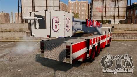 MTL Firetruck Tower Ladder FDLC [ELS-EPM] pour GTA 4 Vue arrière de la gauche