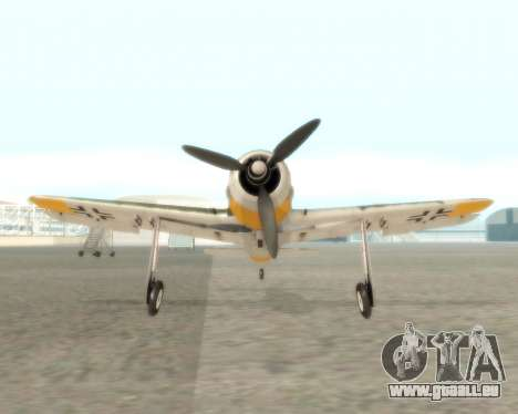 Focke-Wulf FW-190 F-8 für GTA San Andreas Rückansicht