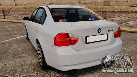 BMW 330i Unmarked Police [ELS] pour GTA 4 Vue arrière de la gauche