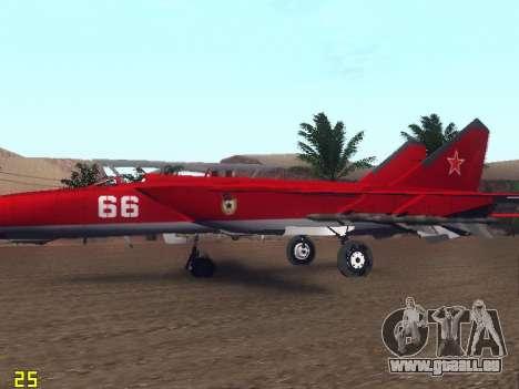 MiG-25 für GTA San Andreas Innen