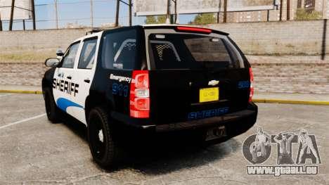 Chevrolet Tahoe 2008 Federal Signal Valor [ELS] pour GTA 4 Vue arrière de la gauche