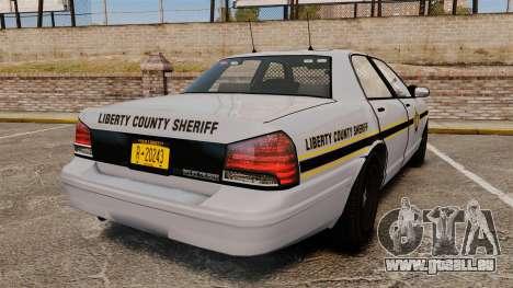 GTA V Vapid Police Cruiser Scheriff [ELS] pour GTA 4 Vue arrière de la gauche