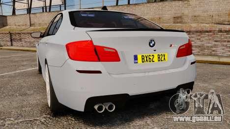 BMW M5 Unmarked Police [ELS] pour GTA 4 Vue arrière de la gauche