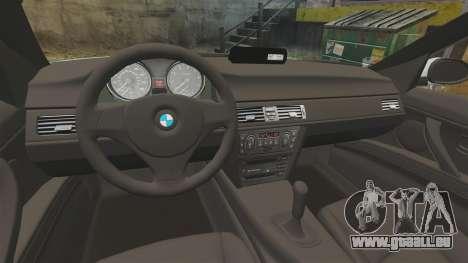 BMW 330i Unmarked Police [ELS] pour GTA 4 Vue arrière